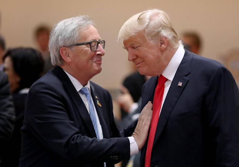EU president Jean-Claude Juncker and Donald Trump at the G20 in Hamburg in 2017 (Getty Images)