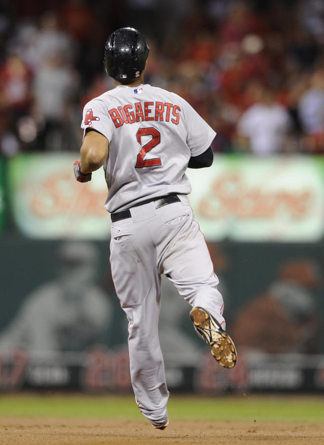 Boston Red Sox's Xander Bogaerts runs to second with an RBI double against the St. Louis Cardinals in the fourth inning in a baseball game, Wednesday, Aug. 6, 2014, at Busch Stadium in St. Louis. (AP Photo/Bill Boyce)