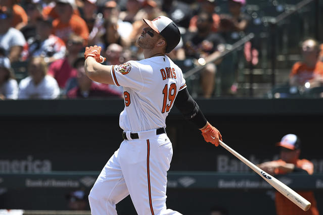 FILE - In this July 29, 2018, file photo, Baltimore Orioles' Chris Davis follows through on a two run home run against the Tampa Bay Rays in the first inning of a baseball game, in Baltimore. Sluggers Chris Davis and Mark Trumbo, along with starting pitchers Andrew Cashner and Alex Cobb, are among a handful of veterans sure to make the 25-man roster. Nothing else is certain for a team coming off a dismal 47-115 season and in the opening stage of a major rebuild under first-year manager Brandon Hyde and first-year general manager Mike Elias. (AP Photo/Gail Burton, File)