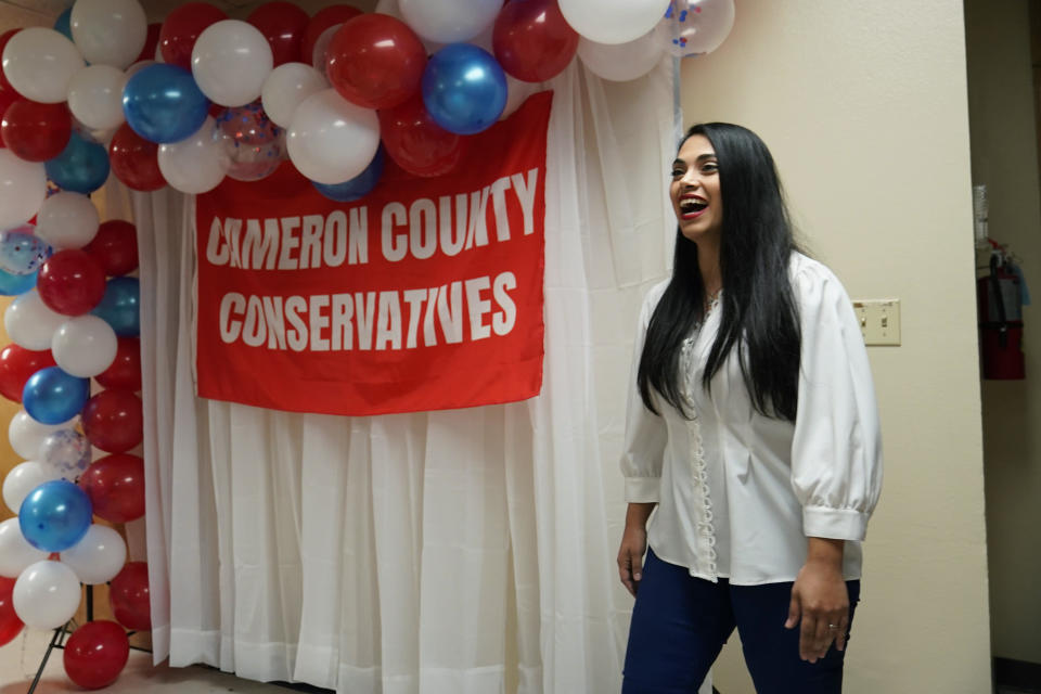 In this Wednesday, Sept. 22, 2021, photo Republican congressional candidate Mayra Flores attends a Cameron County Conservatives event in Brownsville, Texas. Flores argues that Democrats are forcing Texans choose between their energy sector jobs and curbing climate change. (AP Photo/Eric Gay)