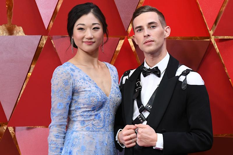 Adam Rippon rocked his bondage harness with Mirai Nagasu on the Academy Awards' red carpet.
