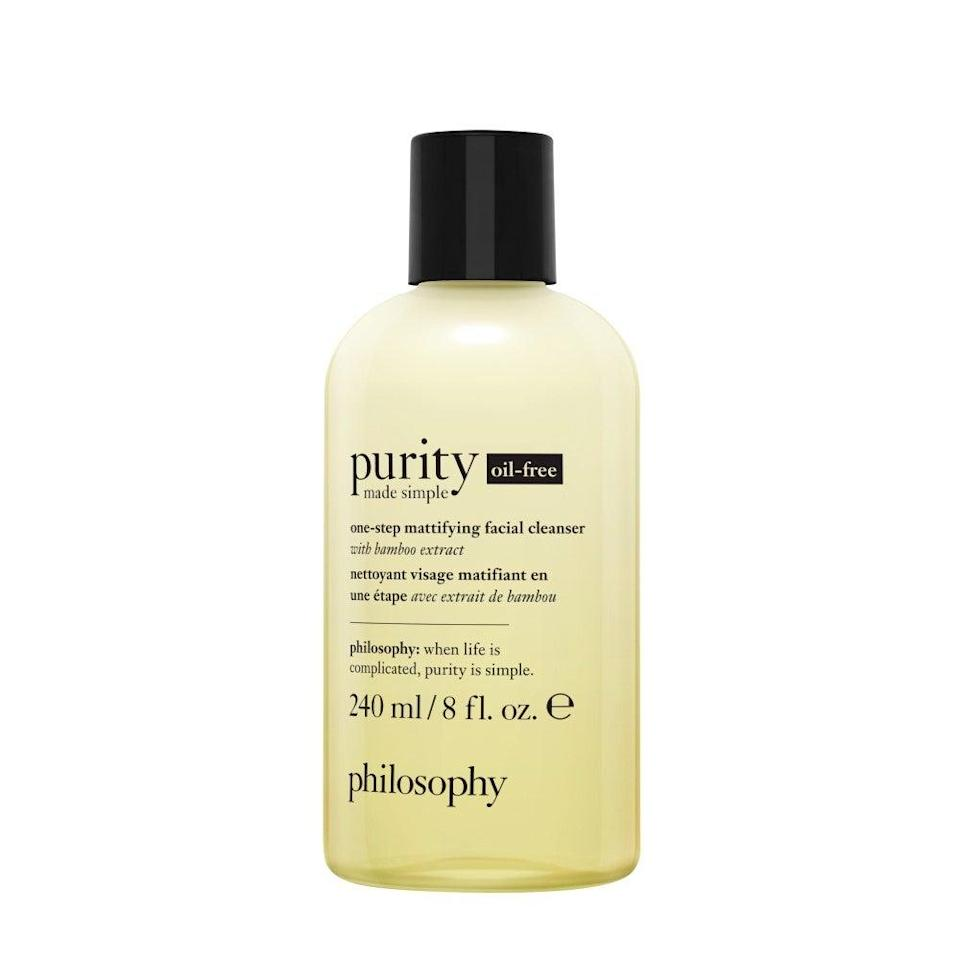 """<h3>Philosophy Oil-Free Cleanser Purity Made Simple</h3> <br>""""You know the scene in <em>Back To The Future 2 </em>where Marty's mom brings home a pizza that triples in size in the hydrator? That's kind of how I felt using this cleanser. The teeniest, tiniest (I'm talking less than a pea-size drop) foams into such a massive lather, you'd think I poured out a handful. My husband and I have both been using it day and night for two months and still have more than three quarters of a bottle left. Like the original formula, it takes off makeup and leaves my skin clean — but unlike the original, which has meadowfoam seed oil, this one is completely oil-free, which plays a lot better with my acneic skin."""" — Quinn<br><br><strong>Philosophy</strong> oil-free cleanser purity made simple, $, available at <a href=""""https://go.skimresources.com/?id=30283X879131&url=https%3A%2F%2Fwww.philosophy.com%2Fpurity-made-simple-oil-free-cleanser.html%3Fcgid%3DC133"""" rel=""""nofollow noopener"""" target=""""_blank"""" data-ylk=""""slk:Philosophy"""" class=""""link rapid-noclick-resp"""">Philosophy</a><br>"""