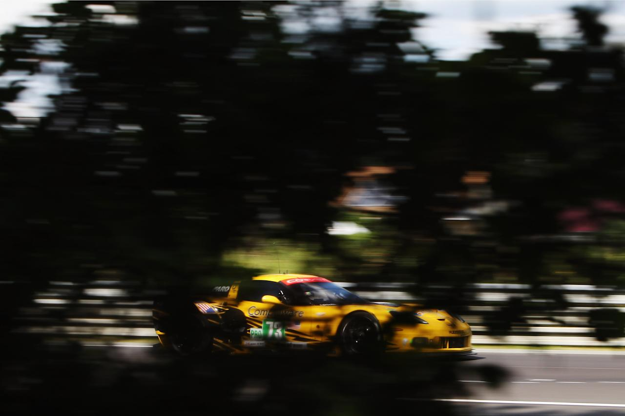 LE MANS, FRANCE - JUNE 16:  The Corvette Racing C6 ZR1 of Antonio Garcia, Jan Magnussen and Jordan Taylor drives during the Le Mans 24 Hour race at the Circuit de la Sarthe on June 16, 2012 in Le Mans, France.  (Photo by Ker Robertson/Getty Images)