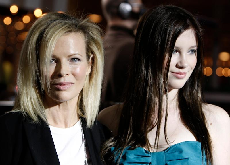 Kim Basinger, left, and her daughter, Ireland Baldwin, at the premiere of