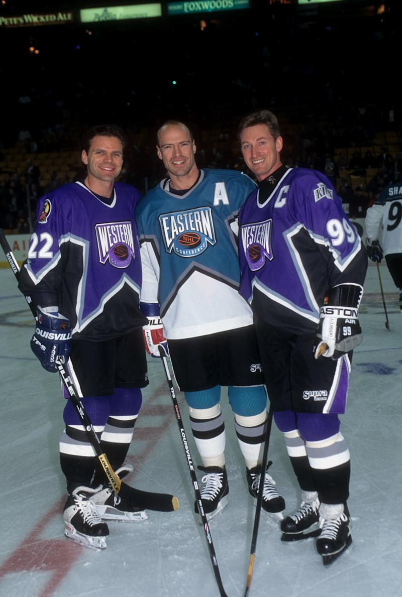 BOSTON, MA - JANUARY 20: Mark Messier #11 of the Eastern Conference and the New York Rangers poses for a portrait with Mike Gartner #22 of the Toronto Maple Leafs and Wayne Gretzky #99 of the Los Angeles Kings, both of the Western Conference, before the 1996 46th NHL All-Star Game on January 20, 1996 at the FleetCenter in Boston, Massachusetts. The Eastern Conference defeated the Western Conference 5-4. (Photo by B Bennett/Getty Images)
