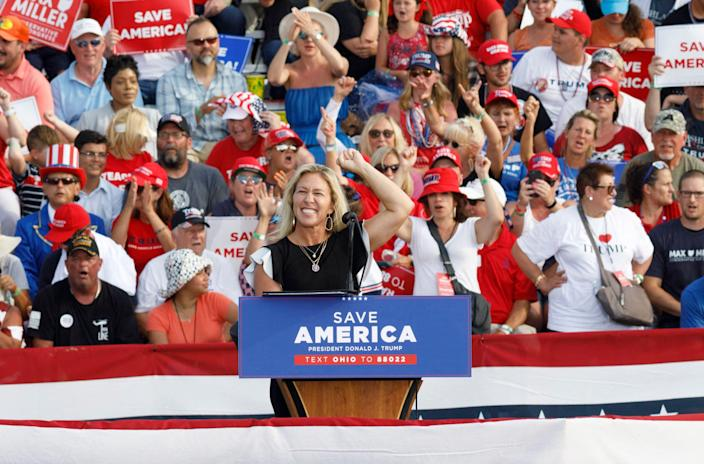 Rep. Marjorie Taylor Greene, R-Ga., speaks during a campaign-style rally for Donald Trump in Wellington, Ohio, on June 26.