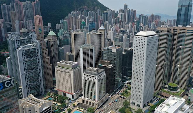 Aerial view of HSBC Building, Landmark Prince's, Mandarin Oriental Hotel and Jardine House in Central district, Hong Kong. Photo: Roy Issa