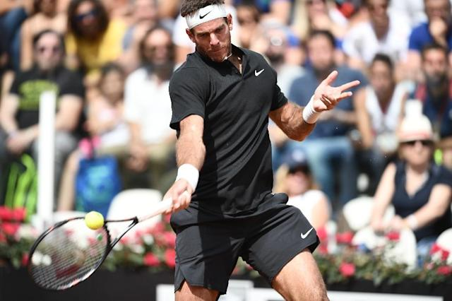 World number six Juan Martin del Potro could be a doubt for Roland Garros after sustaining a groin strain in Rome (AFP Photo/Filippo MONTEFORTE)