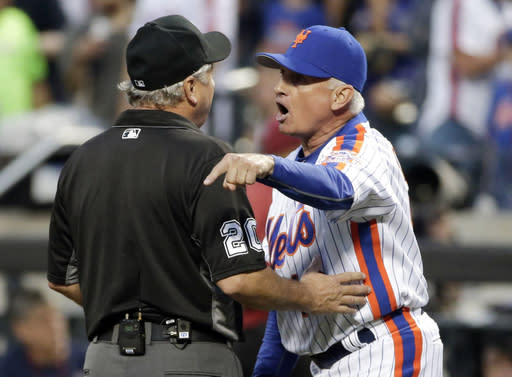 "MLB commissioner Rob Manfred wasn't happy that a video showing a screaming match between <a class=""link rapid-noclick-resp"" href=""/mlb/teams/nym"" data-ylk=""slk:New York Mets"">New York Mets</a> manager Terry Collins and umpire Tom Hallion after an ejection in a 2016 game was leaked, and has started scrubbing it from the internet. (AP Photo/Frank Franklin II)"