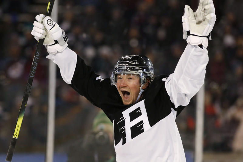 Los Angeles Kings right wing Tyler Toffoli celebrates after scoring the go-ahead goal against the Colorado Avalanche during the third period of an NHL hockey game Saturday, Feb. 15, 2020, at Air Force Academy, Colo. The Kings won 3-1. (AP Photo/David Zalubowski)