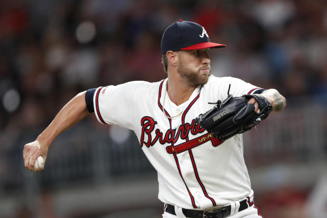 Atlanta Braves relief pitcher Shane Greene works the eighth inning of a baseball game against the Los Angeles Dodgers, Saturday, Aug. 17, 2019, in Atlanta. (AP Photo/John Bazemore)