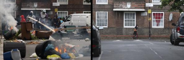 In this composite image (Left Photo) Rioters set fire to barricades they constructed in Goulton Road, Hackney on August 8, 2011 in London, England. (Right Photo) Daily life in Goulton Road in Hackney, one year on from the riots. August 6th marks the one year anniversary of the England riots, over the course of four days several London boroughs, and districts of cities and towns around England suffered widespread rioting, looting and arson as thousands took to the streets. (Dan Istitene/Peter Macdiarmid/Getty Images)