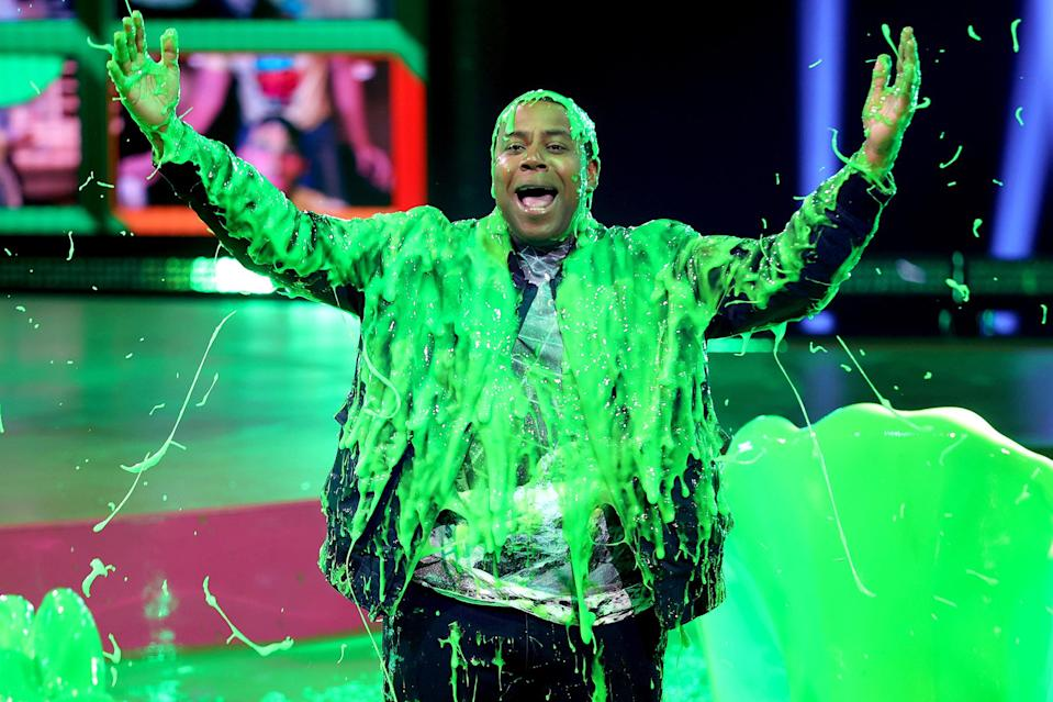 <p>Kenan Thompson is slimed onstage while hosting Nickelodeon's Kids' Choice Awards in Santa Monica, California, on Saturday.</p>