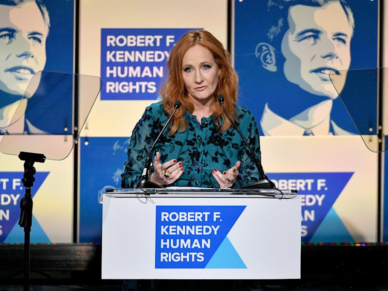 JK Rowling speaks onstage at the 2019 RFK Ripple of Hope Awards, less than a year before she returned the awardGetty Images