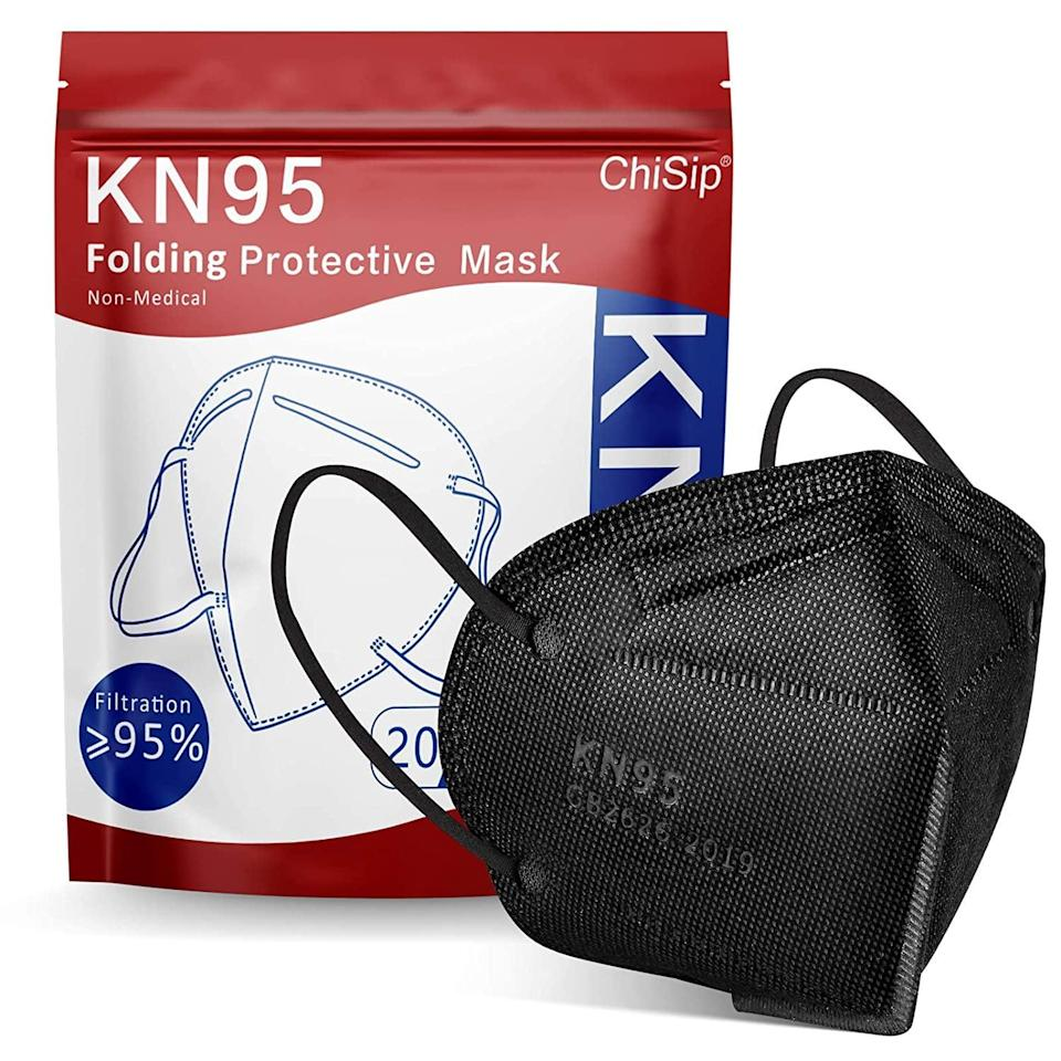<p>If you like the look of a sleek black mask, these <span>KN95 Face Masks</span> ($30) are for you. The ear loop is comfortable and they're easy to throw in your bag.</p>