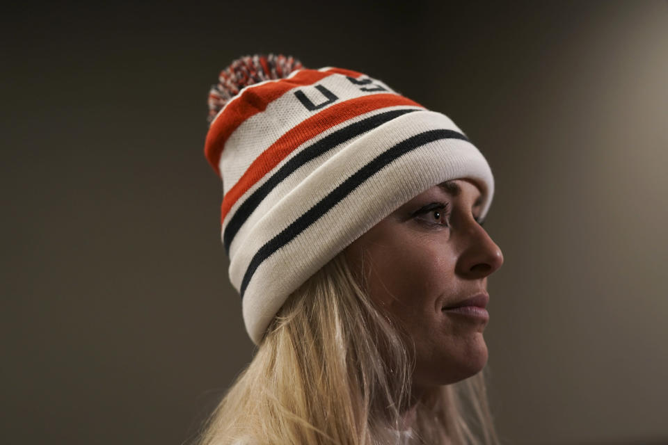 Lindsey Vonn answers questions after receiving a letter of appreciation for her grandfather's service during the Korean War in Jeongseon, South Korea, Thursday, Feb. 22, 2018. (AP Photo/Felipe Dana)