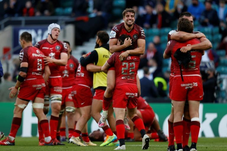 Winners again - Toulouse players celebrate a 22-17 victory over La Rochelle in the European Champions Cup final at Twickenham on Saturday