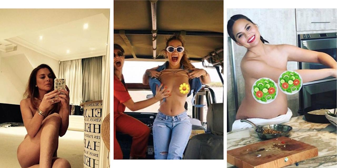 <p>Despite having the most expensive, stylish clothes on hand 24/7, sometimes those famous celebrity types just can't help but strip it all off and take a selfie for Instagram. And more power to them! </p>