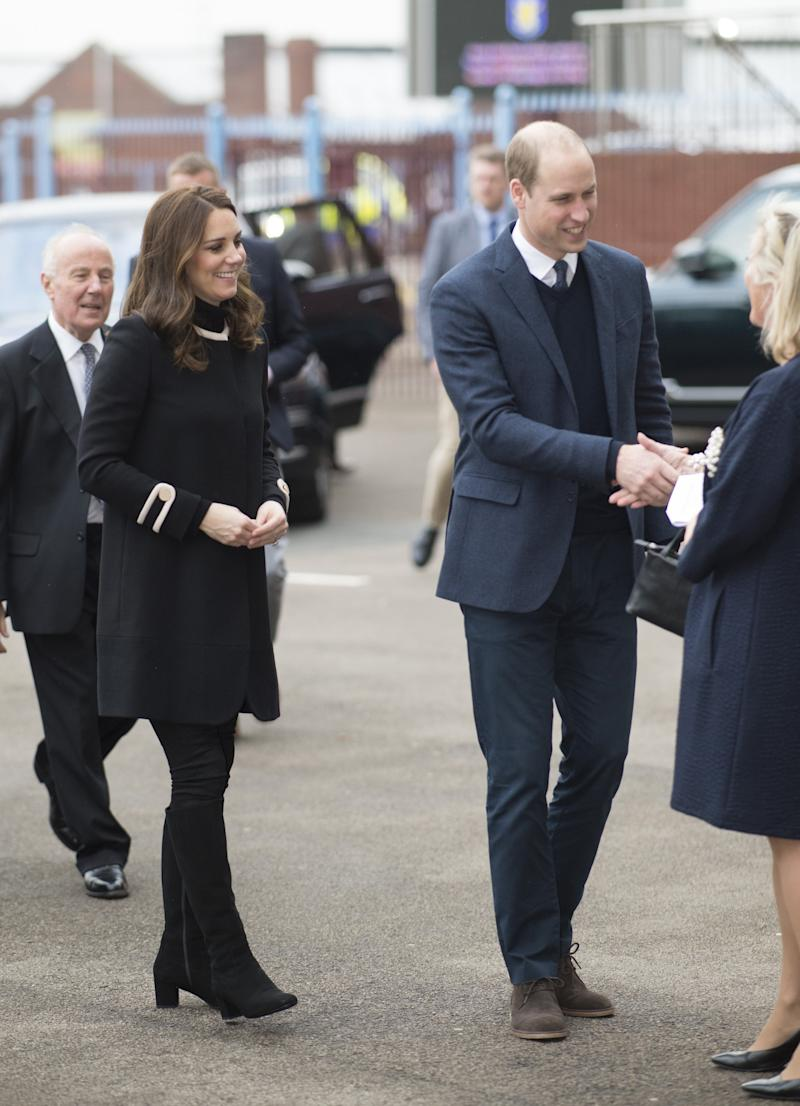 Prince William and Catherine, Duchess of Cambridge, visit Aston Villa Football Club on Nov. 22 in Birmingham, England.  (Geoff Pugh/WPA Pool via Getty Images)
