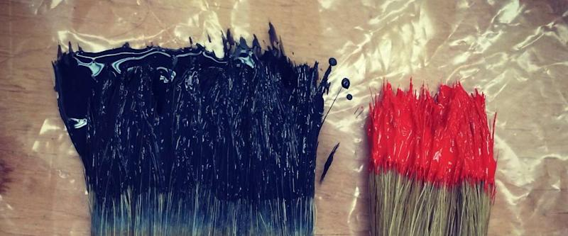paint brushes on plastic