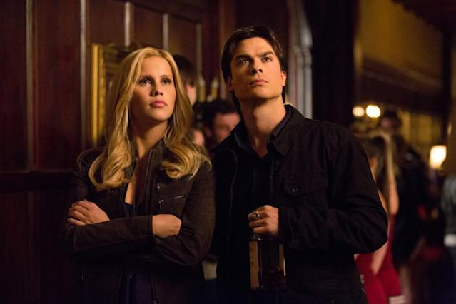 """Bring It On"" -- Claire Holt as Rebekah and Ian Somerhalder as Damon"