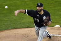 Chicago White Sox pitcher Lance Lynn throws against the Minnesota Twins in the first inning of a baseball game Tuesday, May 18, 2021, in Minneapolis. (AP Photo/Jim Mone)