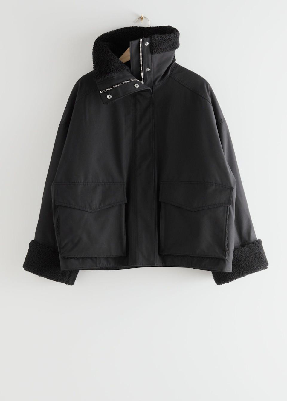 """<br><br><strong>& Other Stories</strong> Oversized Boxy Shearling Jacket, $, available at <a href=""""https://www.stories.com/en_gbp/clothing/jackets-coats/jackets/product.oversized-boxy-shearling-jacket-black.0878973001.html?gclid=Cj0KCQjw28T8BRDbARIsAEOMBcw3OKl7EtjVXz_clfVfCBmmpC6n9nYR4nikQyMQmfkaAXitRJdF120aArx8EALw_wcB"""" rel=""""nofollow noopener"""" target=""""_blank"""" data-ylk=""""slk:& Other Stories"""" class=""""link rapid-noclick-resp"""">& Other Stories</a>"""