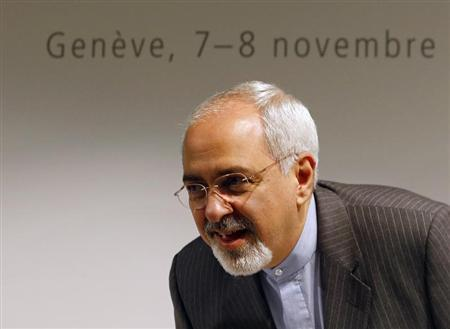 Iranian Foreign Minister Zarif arrives for a news conference after nuclear talks at the United Nations European headquarters in Geneva