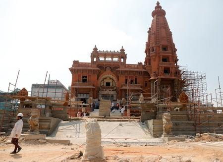 """A general view of the restoration work at the Baron Empain Palace, """"Qasr el Baron"""" or The Hindu Palace, built in the 20th century by a Belgian industrialist Edouard Louis Joseph, also known as Baron Empain, in the Cairo's suburb Heliopolis"""