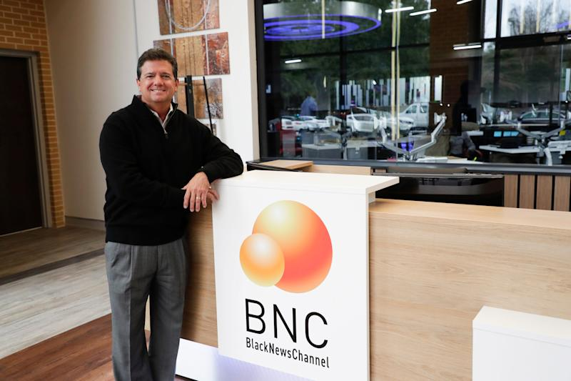Black News Channel CEO Bob Brillante stands in the lobby of the news network Tuesday, Jan. 7, 2020.