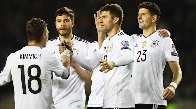 Defending champion Germany stayed perfect in World Cup qualifying despite conceding its first goal in Group C with a 4-1 win in Azerbaijan on Sunday.