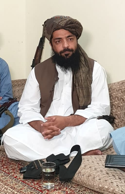 Waheedullah Hashimi, a senior Taliban commander, speaks with Reuters during an interview at an undisclosed location near Afghanistan-Pakistan border