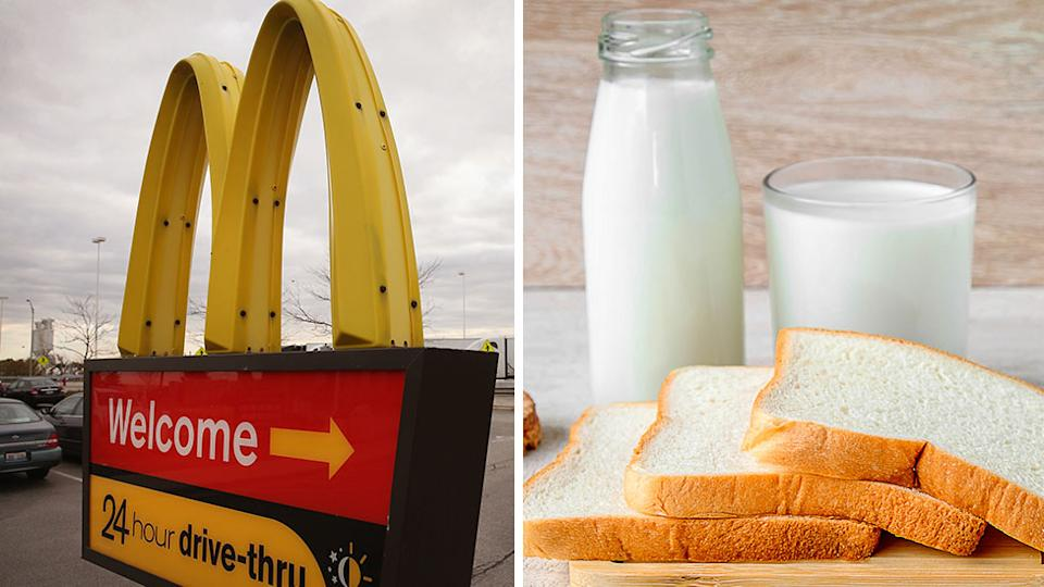 A composite images of a McDonald's drive-thru sign and a glass bottle of milk and sliced white bread