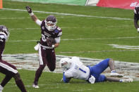 Mississippi State wide receiver Austin Williams (85) runs past Tulsa safety Kendarin Ray (1) after a catch during the first half of the Armed Forces Bowl NCAA college football game Thursday, Dec. 31, 2020, in Fort Worth, Texas. (AP Photo/Jim Cowsert)