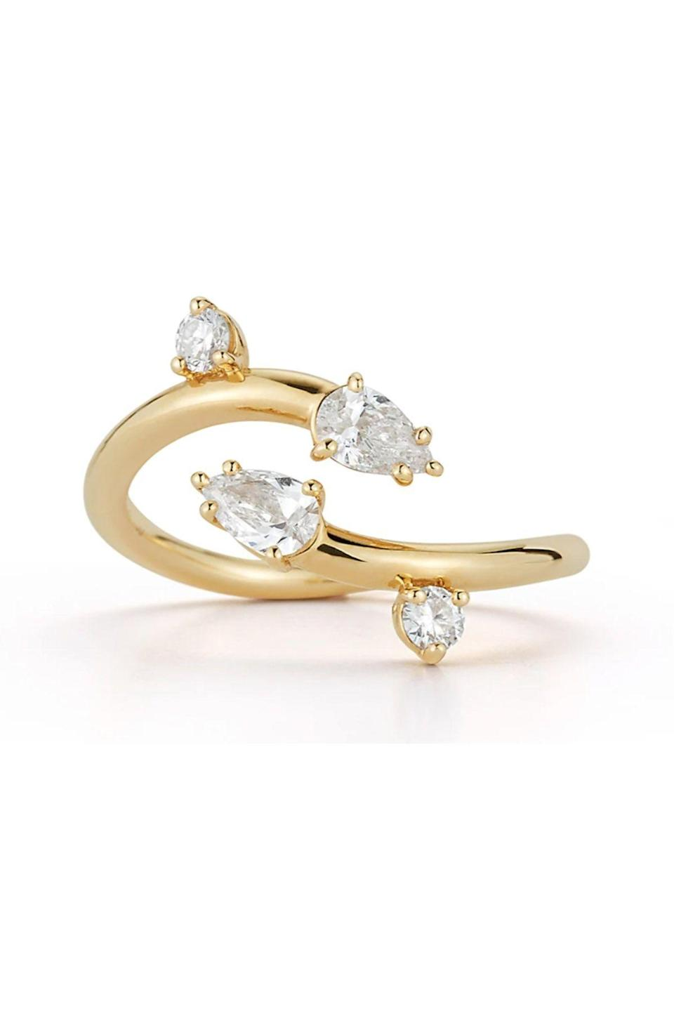 """<p><strong>Renna</strong></p><p>rennajewels.com</p><p><strong>$4500.00</strong></p><p><a href=""""https://rennajewels.com/collections/rings/products/lets-dance-ring-gold-and-diamond"""" rel=""""nofollow noopener"""" target=""""_blank"""" data-ylk=""""slk:Shop Now"""" class=""""link rapid-noclick-resp"""">Shop Now</a></p><p>We love the balancing acts the stones play with Renna's Wave Study Ring. </p>"""