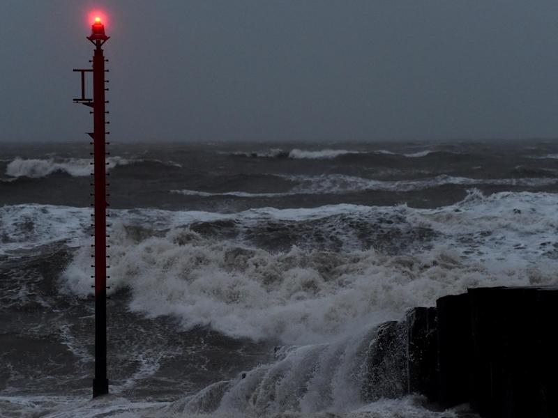 The sea in West Bay as Storm Brendan heads in on 13 January in West Bay: Getty Images