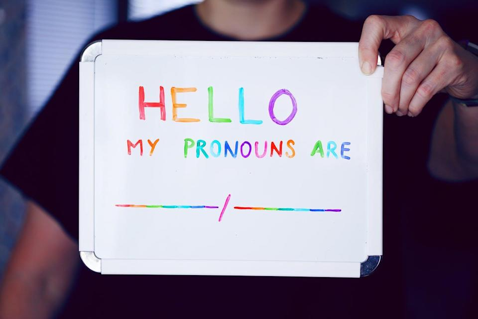 Person holding up rainbow sign that reads 'Hello my pronouns are:'