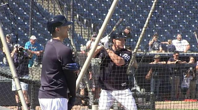 "<p>The first batting practice session for the New York Yankees featuring Aaron Judge and Giancarlo Stanton did not produce as many 'wow' moments as expected.</p><p>It is estimated that about 100 reporters and team officials were on the field to watch them take batting practice, according to Jack Curry of the YES Network. This will certainly become an everyday occurrence for fans in the Bronx this upcoming season.</p><p>Judge knew that many would be watching so he stepped into the batter's box and practiced a bunt to start.</p><p>The only major highlight was Stanton hitting the ""F"" on the Steinbrenner Field signage over the scoreboard in the outfield.</p><p><em>Watch the Yankees' stream of batting practice below:</em></p><p>The final home run count for the day was: Stanton 4, Judge 2.</p>"