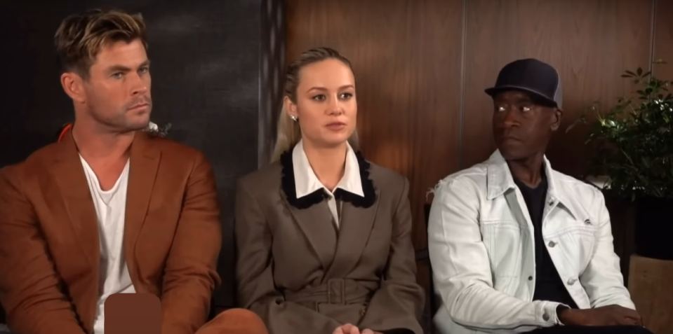 Brie Larson, with Chris Hemsworth and Don Cheadle (Credit: YouTube)