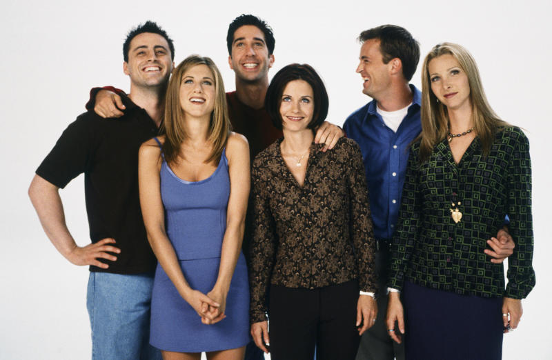 FRIENDS -- Season 4 -- Pictured: (back l-r) Matt LeBlanc as Joey Tribbiani, David Schwimmer as Ross Geller, Matthew Perry as Chandler Bing, (front l-r) Jennifer Aniston as Rachel Green, Courteney Cox as Monica Geller, Lisa Kudrow as Phoebe Buffay (Photo by Gerald Weinman/NBCU Photo Bank/NBCUniversal via Getty Images via Getty Images)