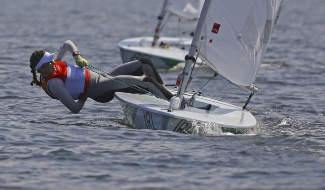 2016 Rio Olympics - Sailing - Final - Women's One Person Dinghy - Laser Radial - Medal Race - Marina de Gloria - Rio de Janeiro, Brazil - 16/08/2016. Annalise Murphy (IRL) of Ireland competes . REUTERS/Brian Snyder FOR EDITORIAL USE ONLY. NOT FOR SALE FOR MARKETING OR ADVERTISING CAMPAIGNS.
