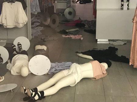 A vandalised H&M store is seen in Sandton, South Africa, January 13, 2018 in this picture obtained from social media. Courtesy of TWITTER/ @ABRAMJEE /via REUTERS
