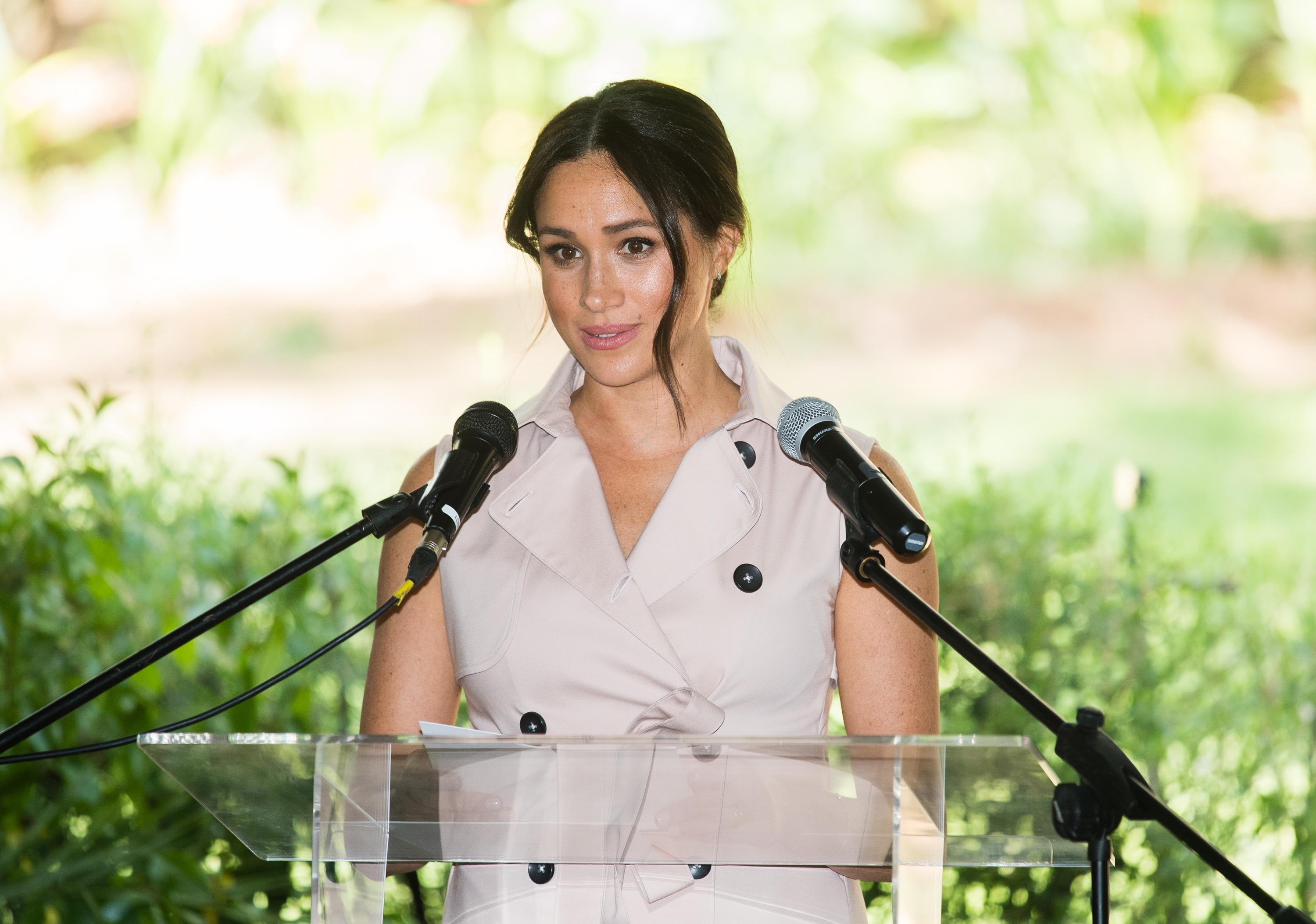 JJOHANNESBURG, SOUTH AFRICA - OCTOBER 02: Meghan, Duchess of Sussex gives a speech as she visits the British High Commissioner's residence to attend an afternoon reception to celebrate the UK and South Africa's important business and investment relationship, looking ahead to the Africa Investment Summit the UK will host in 2020. This is part of the Duke and Duchess of Sussex's royal tour to South Africa. on October 02, 2019 in Johannesburg, South Africa. (Photo by Samir Hussein/WireImage)
