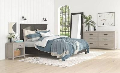 Chevron's bedroom set is crafted in solid pine, and marked by subtle, V-shaped pattern details, and loaded with quality features like soft-close drawers, and light sensor switches built into headboards.