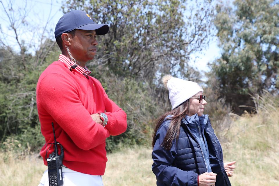 <p>Tiger Woods ed Erica Herman alla Presidents Cup del 2019 (Photo by Rob Carr/Getty Images)</p>