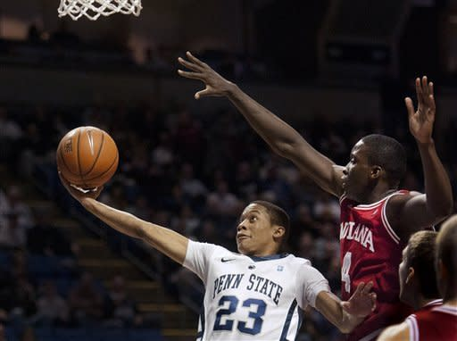 Penn State's Tim Frazier (23) goes up for a basket against Indiana's Victor Oladipo (4) during the first half of an NCAA college basketball game in State College, Pa., Sunday, Jan. 8, 2012. (AP Photo/Andy Colwell)
