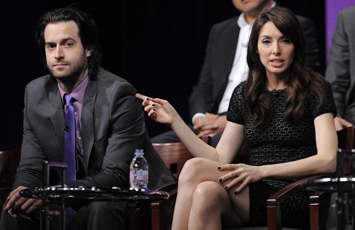 """Whitney Cummings, seen here with Chris D'Elia, a former costar, against whom she spoke out last month. <span class=""""copyright"""">(Associated Press)</span>"""
