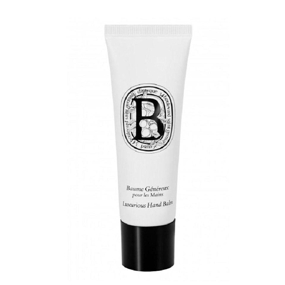 """When you hear <em>Diptyque</em>, you might think of candles, but the Parisian perfumery also makes skin care you don't want to sleep on. The mixture of shea butter and argan oil in its hand creams are like therapy in a bottle for dry, chapped hands. The creamy gloss absorbs into your hands in a matter of seconds, leaving behind a fresh scent of almond and apricot that obviously smells like a fancy French perfume. <em>–L.S.</em> $42, Diptyque Paris. <a href=""""https://www.nordstrom.com/s/diptyque-luxurious-hand-balm/4035994?country=US&currency=USD&mrkgadid=3356815469&mrkgcl=760&mrkgen=gpla&mrkgbflag=0&mrkgcat=&utm_content=33817189655&utm_term=pla-820495691203&utm_channel=low_nd_shopping_standard&sp_source=google&sp_campaign=662927185&adpos=&creative=145518892750&device=c&matchtype=&network=g&acctid=21700000001689570&dskeywordid=92700049880540568&lid=92700049880540568&ds_s_kwgid=58700005470158459&ds_s_inventory_feed_id=97700000007631122&dsproductgroupid=820495691203&product_id=14036081&merchid=1243147&prodctry=US&prodlang=en&channel=online&storeid=&locationid=2840&targetid=pla-820495691203&campaignid=662927185&adgroupid=33817189655&gclid=Cj0KCQiA5bz-BRD-ARIsABjT4njbs4dqc-Wtqem5K_3bCykHCyAj9nbJ0GW_CgzsjcioRRX3EuwcmJoaAsKzEALw_wcB&gclsrc=aw.ds"""" rel=""""nofollow noopener"""" target=""""_blank"""" data-ylk=""""slk:Get it now!"""" class=""""link rapid-noclick-resp"""">Get it now!</a>"""