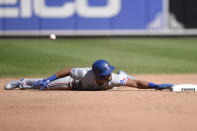 Texas Rangers' Jose Trevino is safe at second base on a steal against the Baltimore Orioles in the seventh inning of a baseball game Sunday, Sept. 26, 2021, in Baltimore. (AP Photo/Gail Burton)