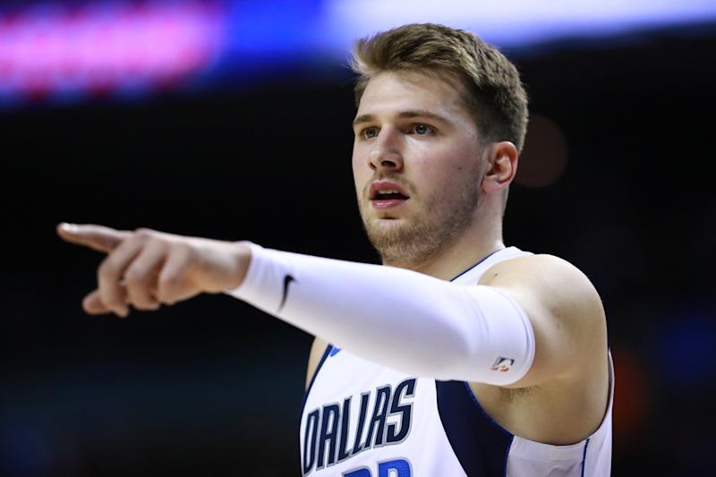 Luka Doncic #77 of the Dallas Mavericks